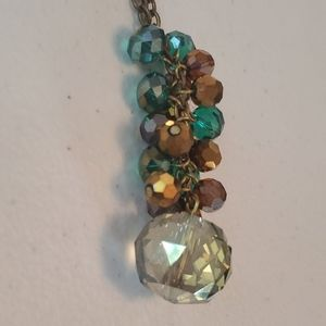 Teal and brown gem cluster long necklace